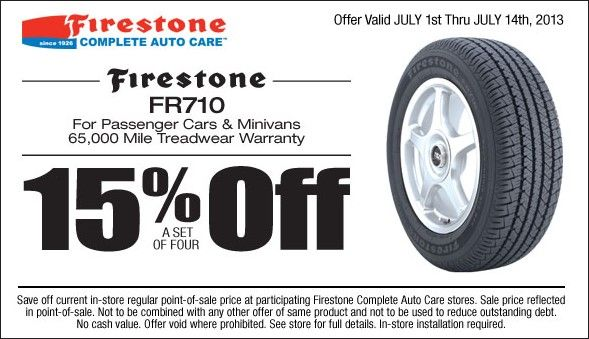 15 Off Firestone Fr710 Tire Coupon July 2013 Firestone