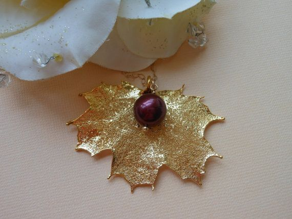 REAL Maple Leaf Gold Necklaces Gold Leaf by TheButterflyGarden7, $34.00
