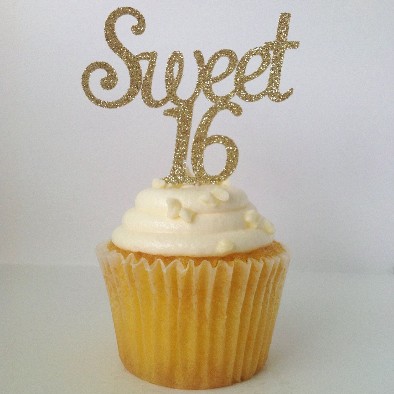 SWEET 16 CUPCAKE TOPPERS Happy Sweet 16 Gold Glitter Sweet 16
