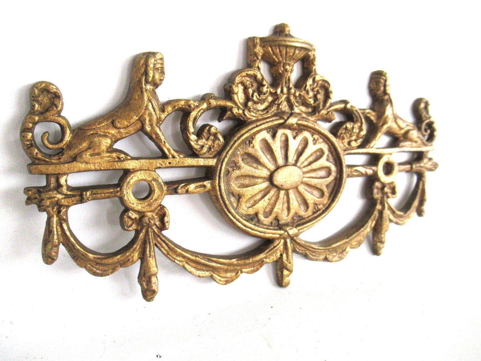 Antique Brass Ormolu Hardware Mount Gilt Leaf Rococo Victorian Old