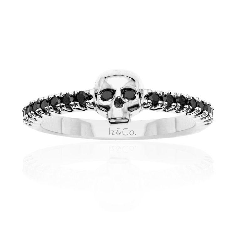Day of tha Dead Black Diamond woman small skull 925 sterling silver ring Dream wedding, anniversary ring skull woman band ring diamond ring # Day of the Dead small skull ring