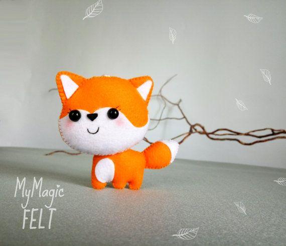 Ornamento del pequeño zorro fieltro decoraciones infantiles de Fox regalo para los niños animales bosques amigos decoraciones bosque