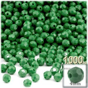 200-pc Plastic Round Opaque Faceted Beads 4mm Emerald green beads