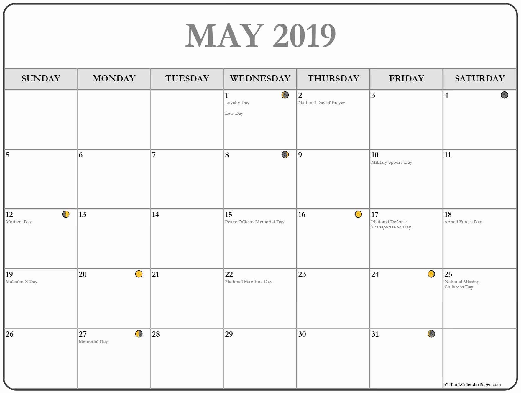 Printable May Moon Phases Calendar
