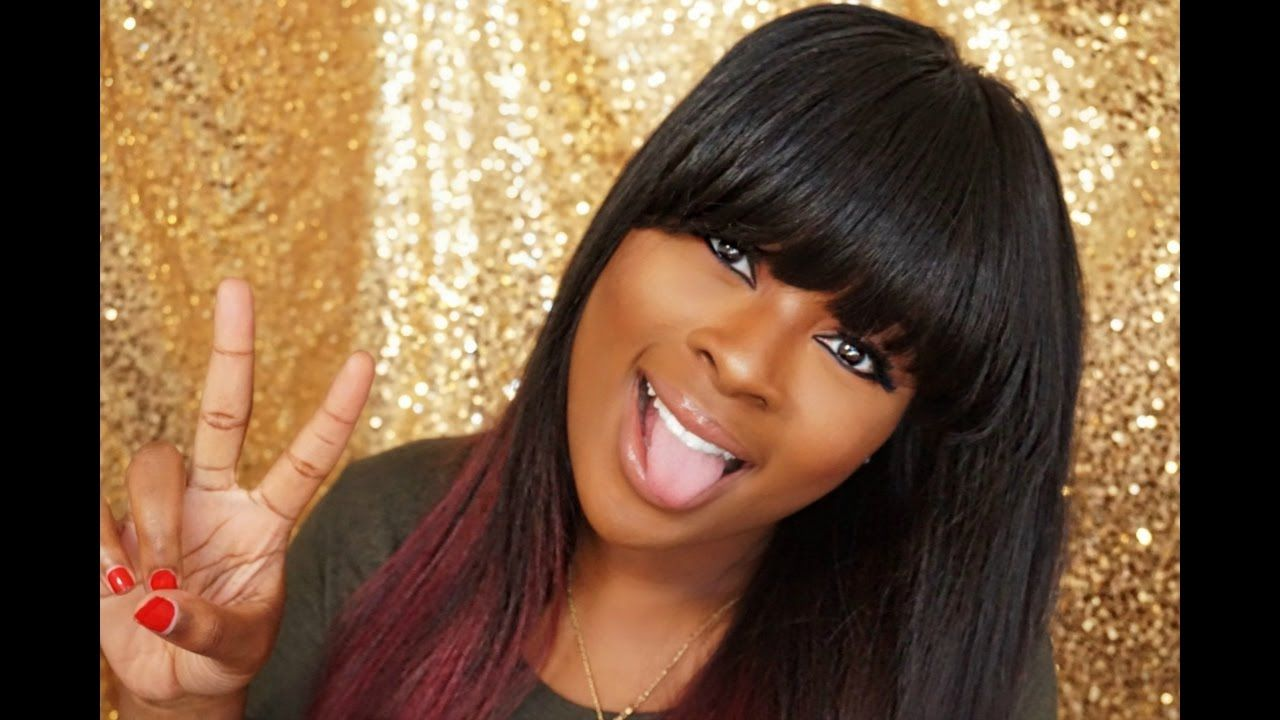 Full wig with fringe bangs using lace closure deatiled