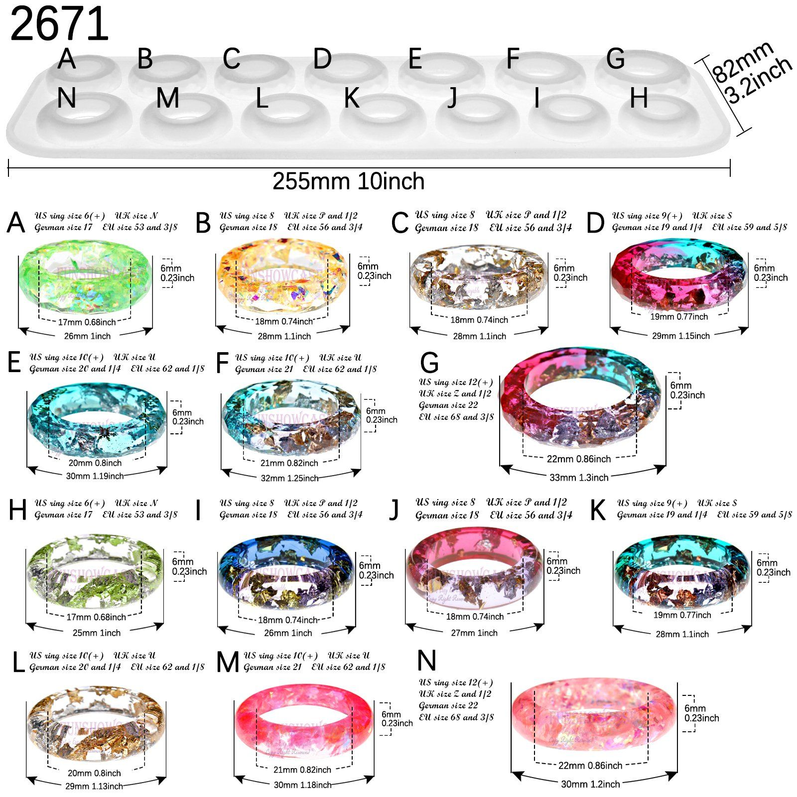 Photo of Bracelet and Ring Resin Jewelry Molds Larger Sizes Set 19 Kits