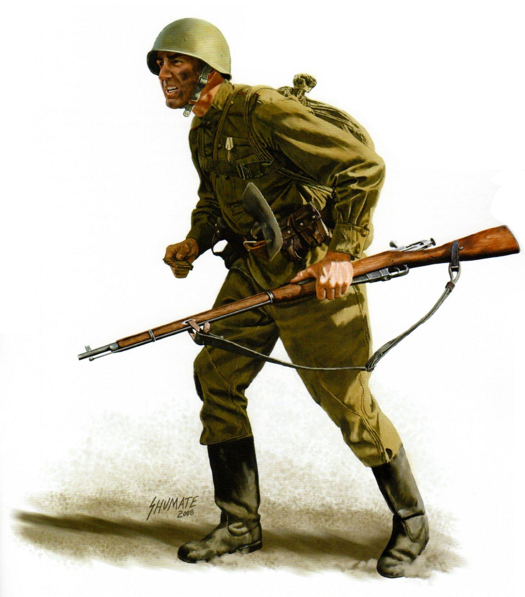 Fusilero soviético, 40.° Ejército Soviético, Frente del Voronezh, Kursk, 1943. Jhonny Shumate.