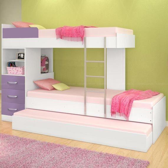 Dormitorio para 3 camas triples bedrooms for 3 ideas for Camas triples juveniles