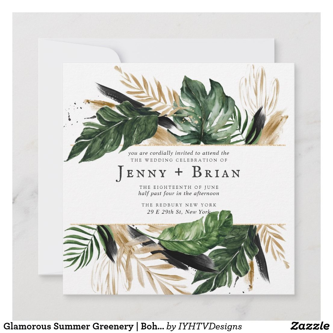 Glamorous Summer Greenery Boho Botanical Wedding Zazzle Com