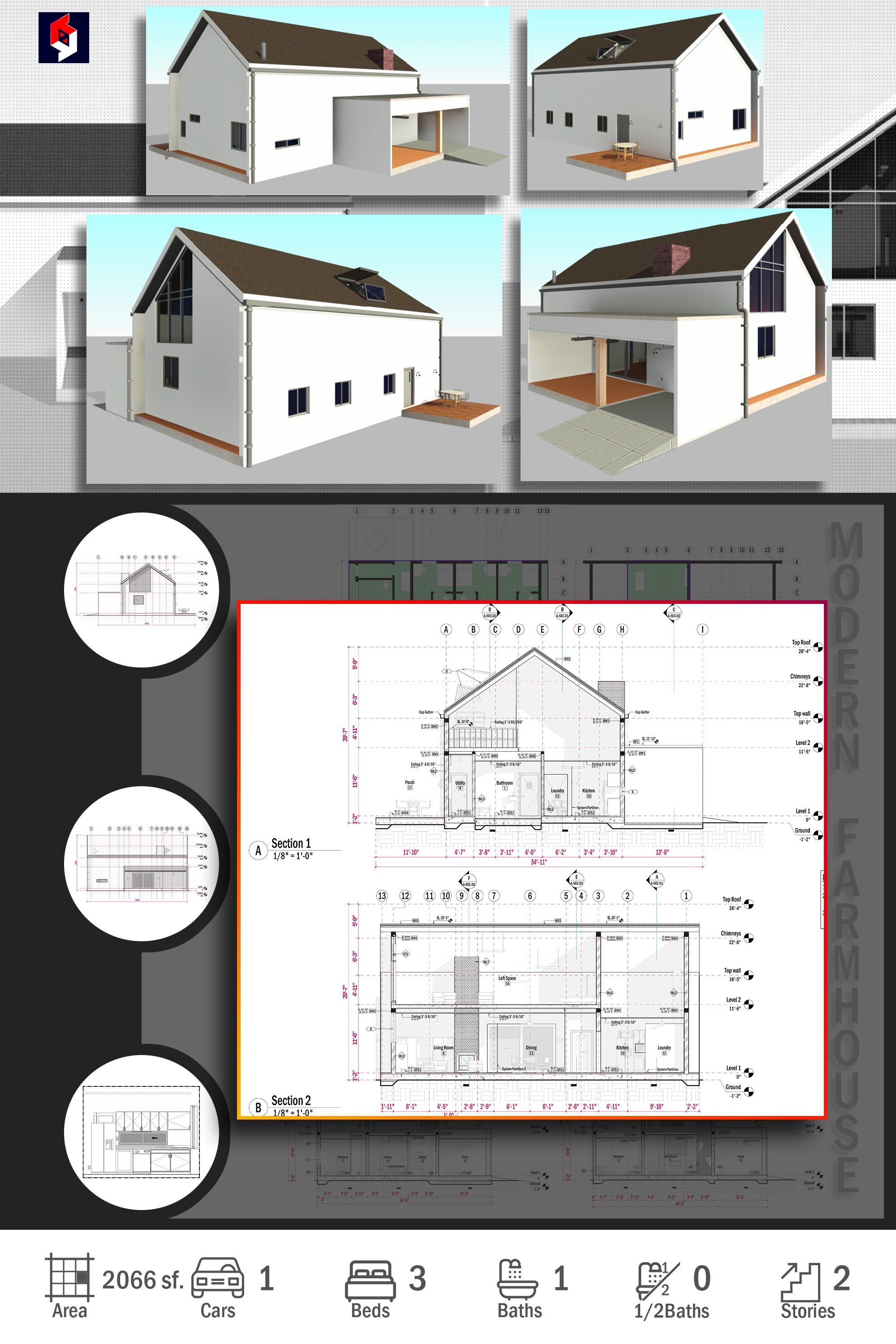 Modern Farmhouse Plan and Architecture Design Drawing MF1 Blueprints Cad Dwg Revit or Pdf File with 3 bedrooms 1 bathrooms Imperial and Metric Units