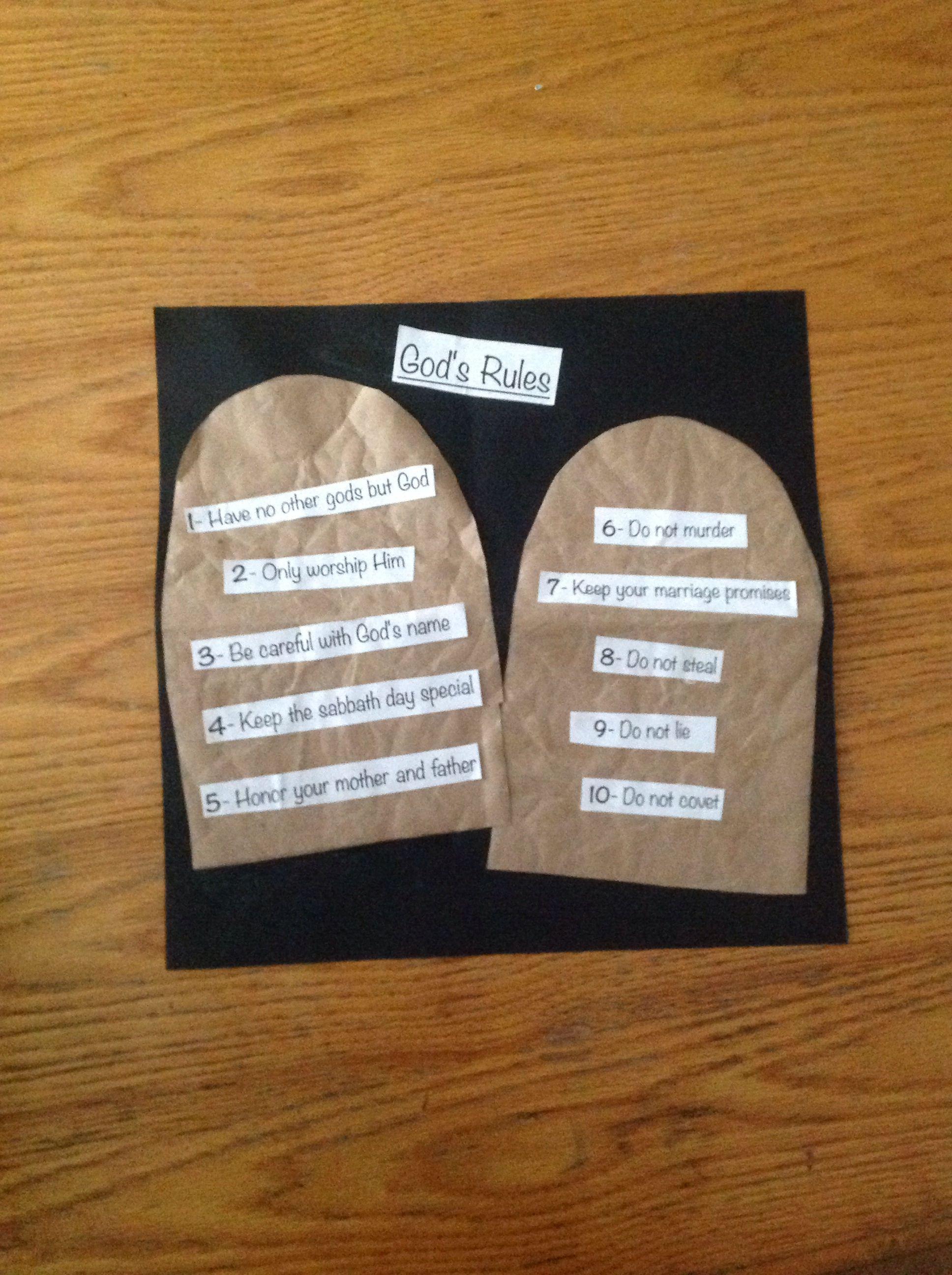 Ten Commandment Simple Craft