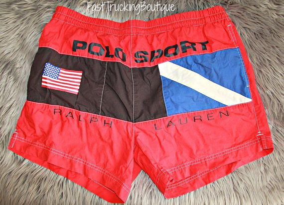 5c59dabd29 Vintage Polo sport Ralph Lauren spell out flag lined swim | Stuff to ...