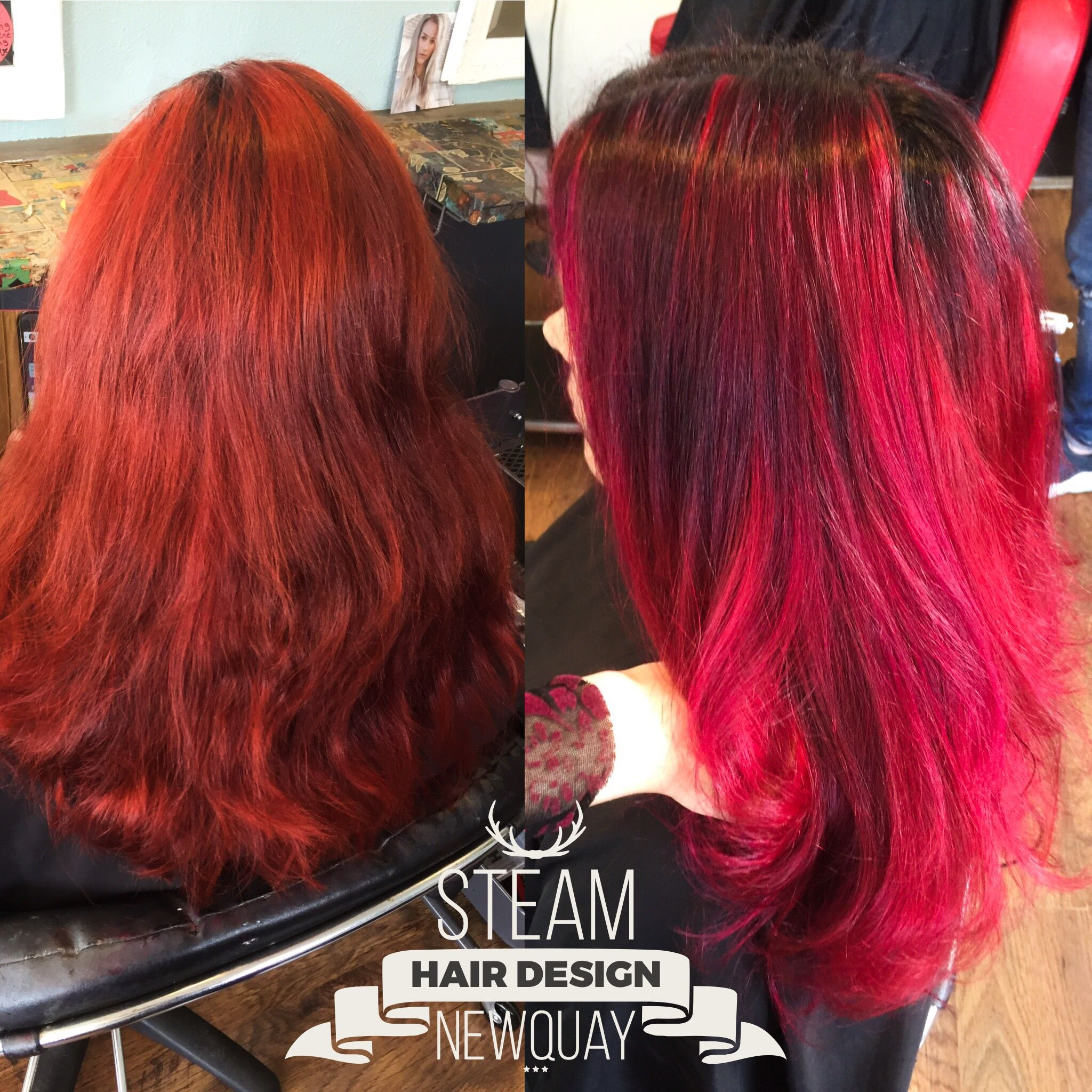 Cherry Red Balayage Before And After Alternative Colour Hair Color