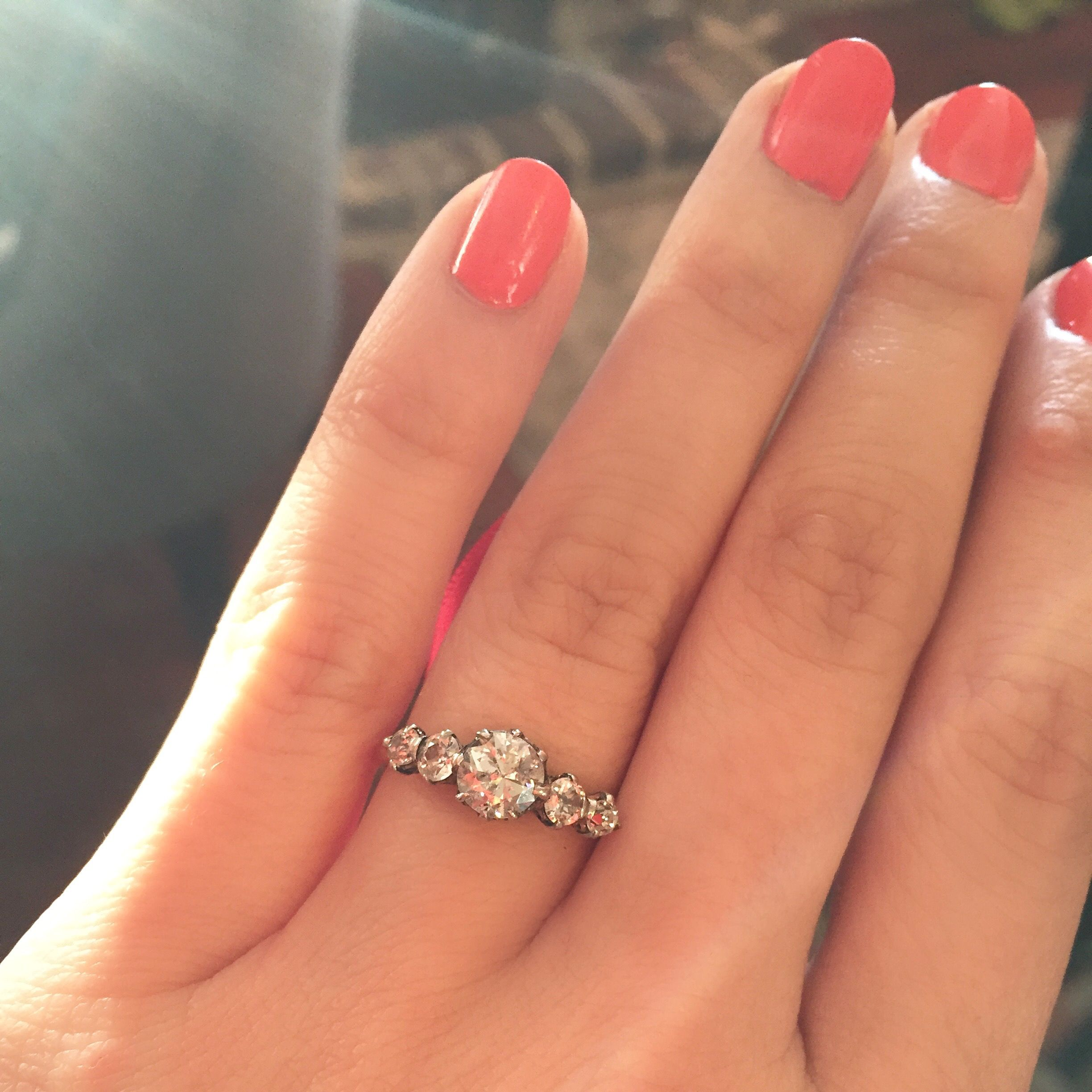 Gorgeous Vintage 5 Stone Engagement Ring With Old European Cut Diamonds  Stunning!