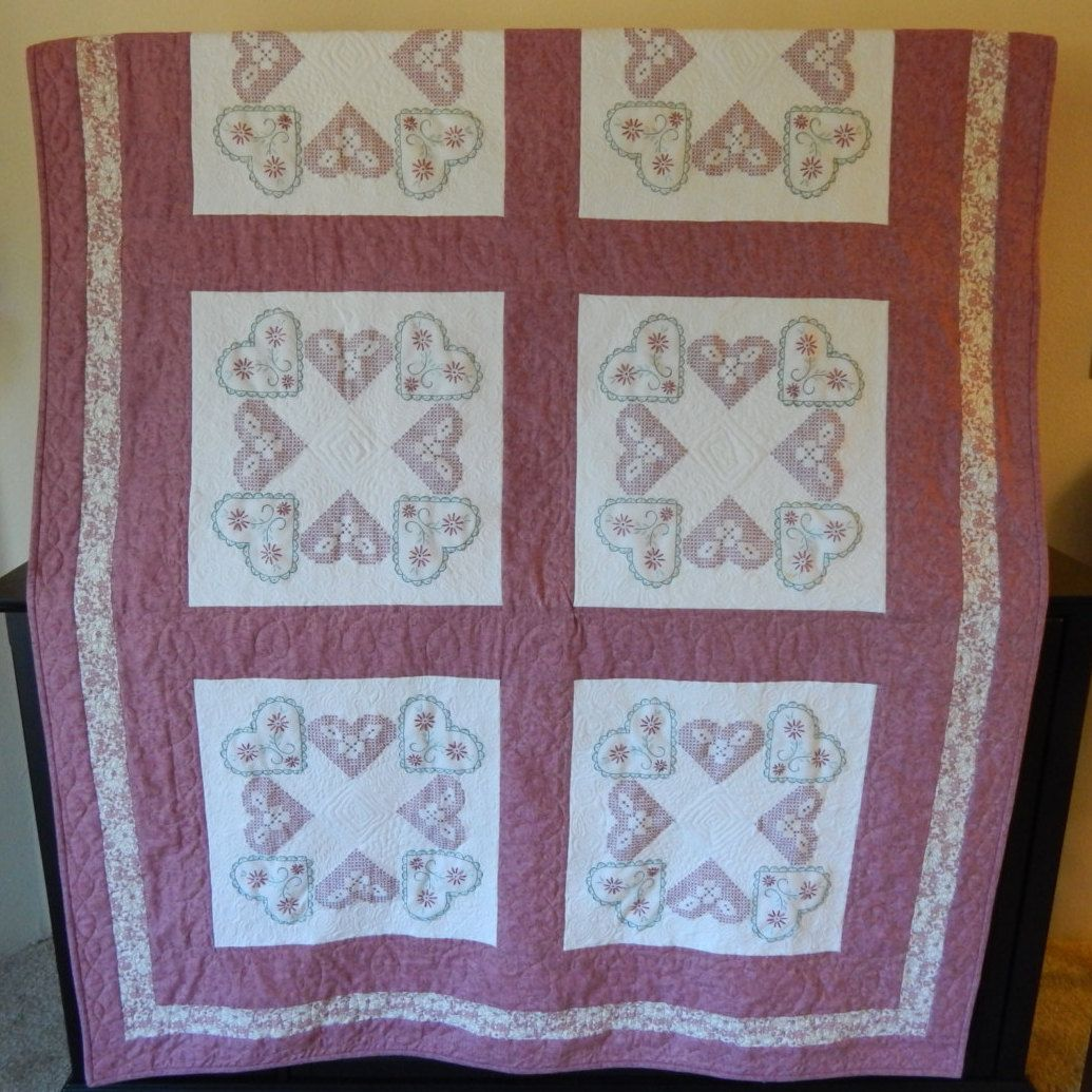 Special Order>>>Vintage Embroidery Quilt by StitchandBrew on Etsy