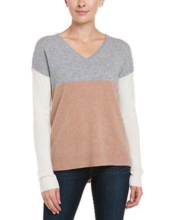 Spotted this White + Warren Ash Heather V-Neck Colorblocked Cashmere Sweater on Rue La La. Shop (quickly!).