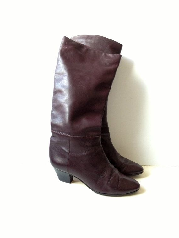 Vintage Bally Leather Boots/ Bally Boots/ Burgundy Bally Leather Boots/ Knee-High Leather Boots/ Vintage Bally Shoes US 8.5 UK 6 EUR 39