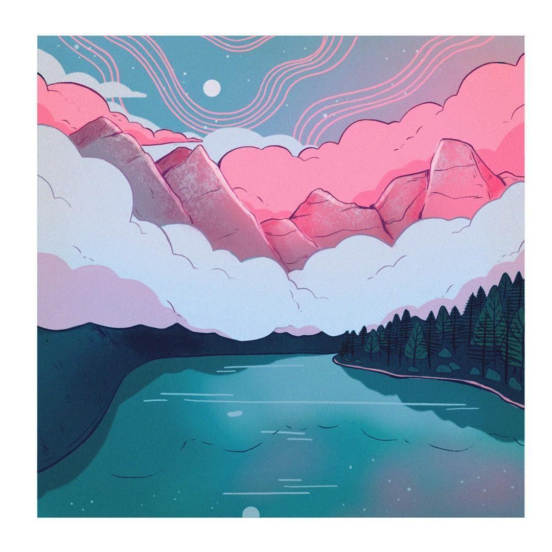 Lana On Instagram A Little Bit Of Background Practice Illustration Illo Illust Landsc Background Drawing Aesthetic Painting Aesthetic Backgrounds