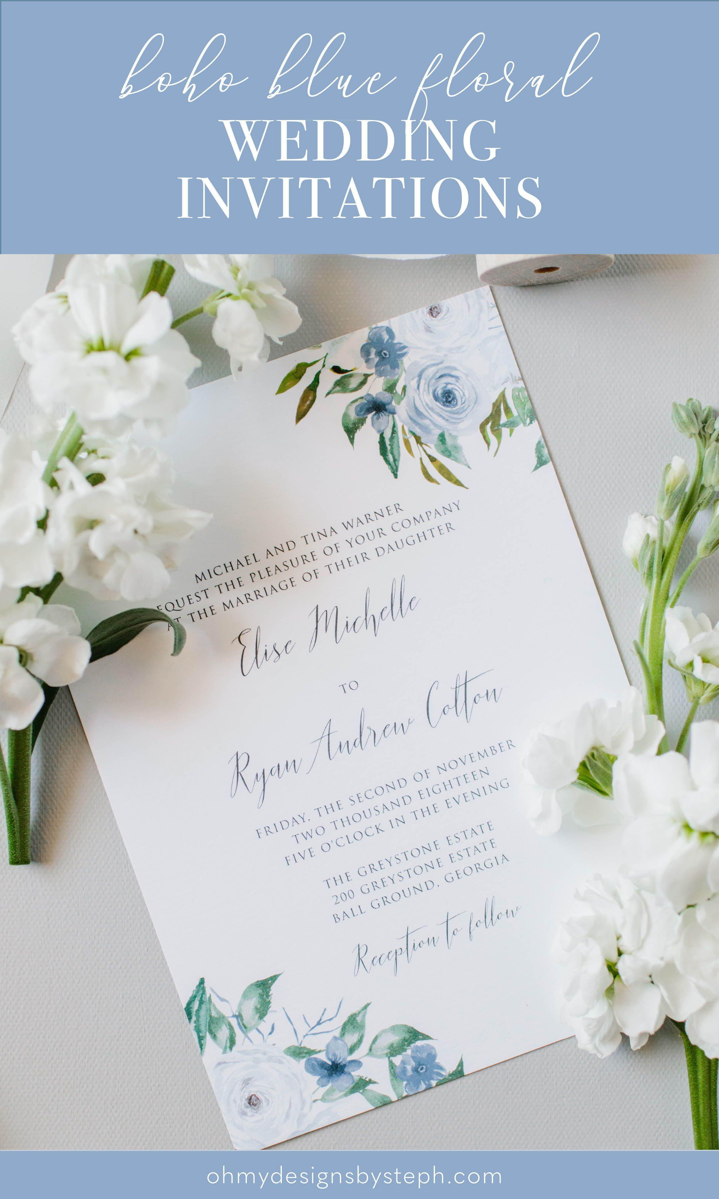 Dusty Blue Floral Wedding Invitation Set Slate Blue Summer Etsy Floral Wedding Invitations Wedding Invitations Wedding Invitation Templates