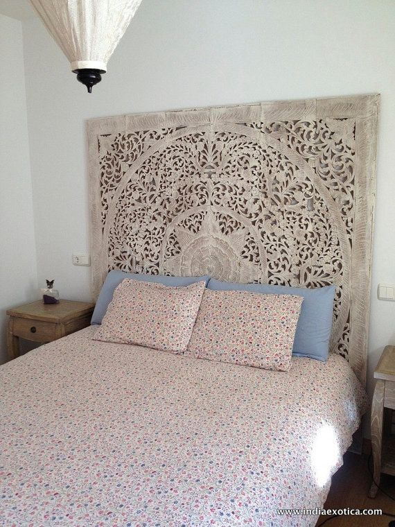 Carved Teak Wall Hanging Bed Headboard White Washed Finish 180 Cm X 180 Cm Headboards For Beds White Headboard Teak Wall