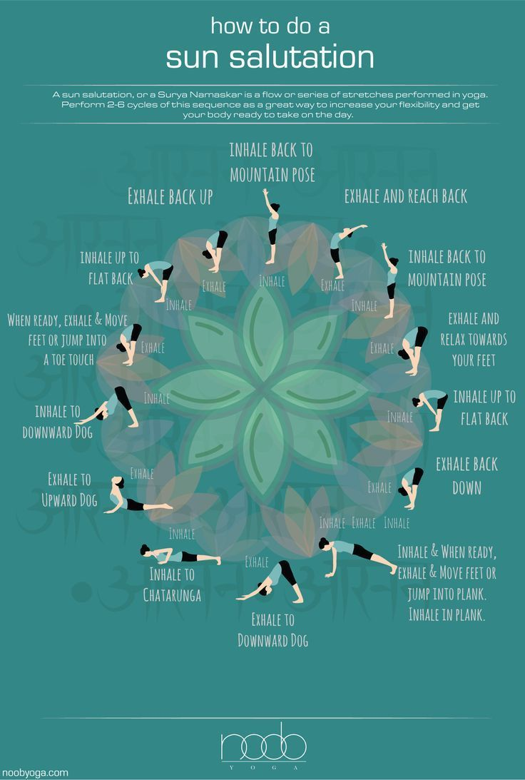 Learn how to do a sun salutation in this easy-to-understand infographic. - Yoga & fitness -  Learn h...