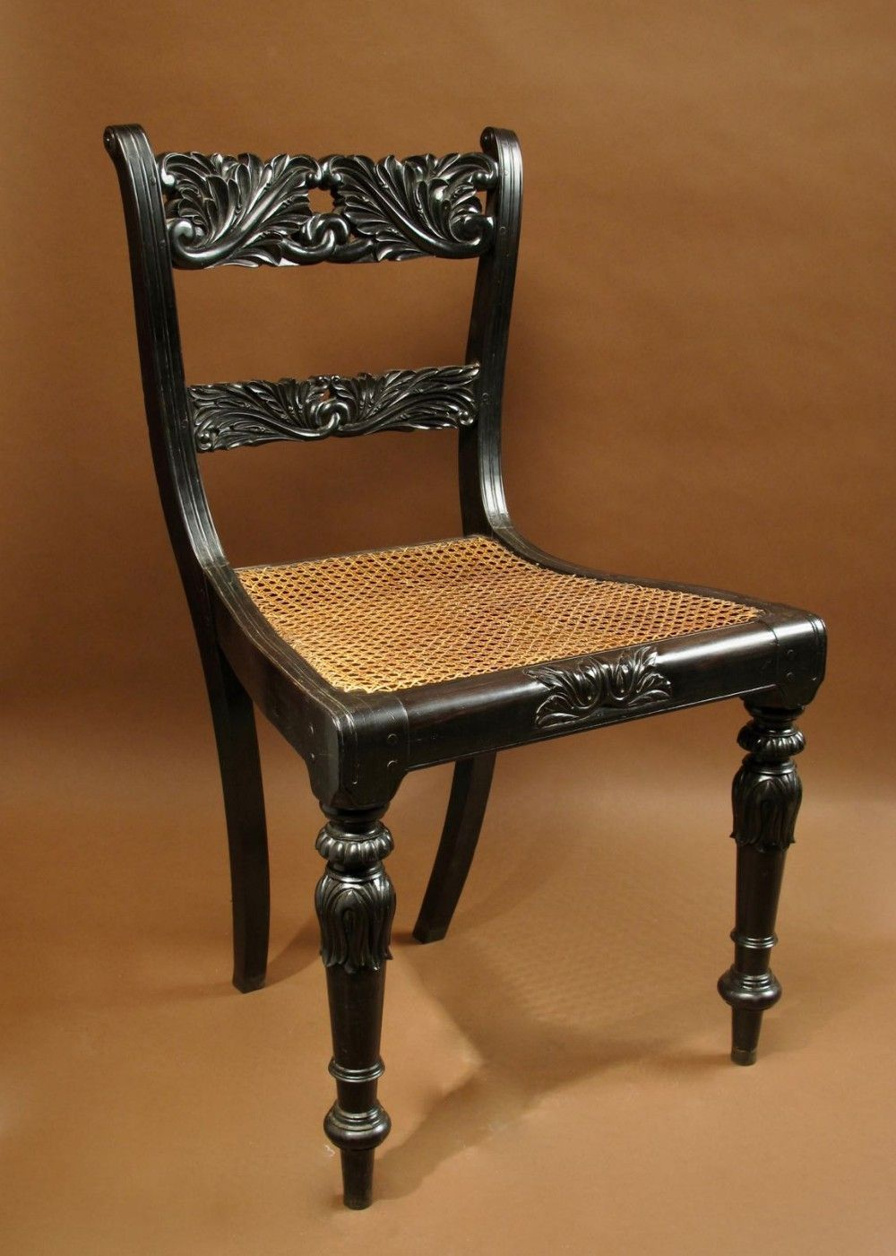 ANGLO INDIAN SOLID EBONY FINELY CARVED CHAIR CEYLON SRI