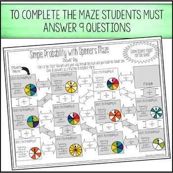 Theoretical Probability Of Simple Events Worksheet With Spinners Maze Activity Theoretical Probability Probability Worksheets Probability Theoretical probability worksheet with answers