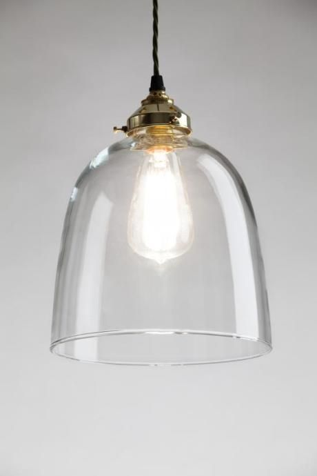 ceiling lighting kitchen contemporary pinterest lamps transparent. Bell Blown Glass Pendant In Large Clear - Trouva. LightDuring Ceiling Lighting Kitchen Contemporary Pinterest Lamps Transparent D