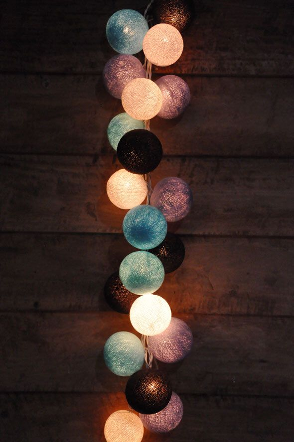 Retro Mixed Purple, Black, Bule & White cotton ball string lights for Patio,Christmas,Party and Decoration, fairy lights