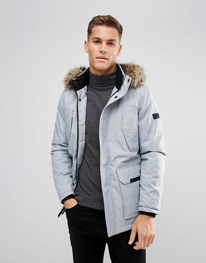 Jack Jones Parka With Faux Fur Hood Parka Jack Jones Fashion