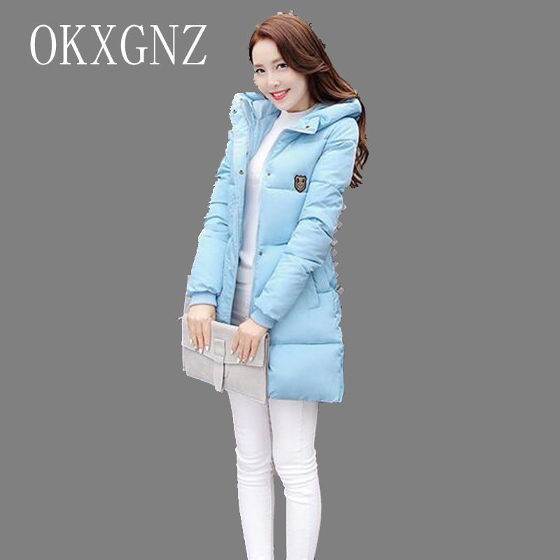 OKXGNZ 2017 New Winter Hooded Women Clothing Coat Pure Color Big Yards  Thicken Warm High quality f79c3550d