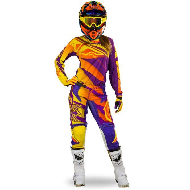 good famous brand buy popular FLY Racing Women's Kinetic Race Gear Purple/Yellow