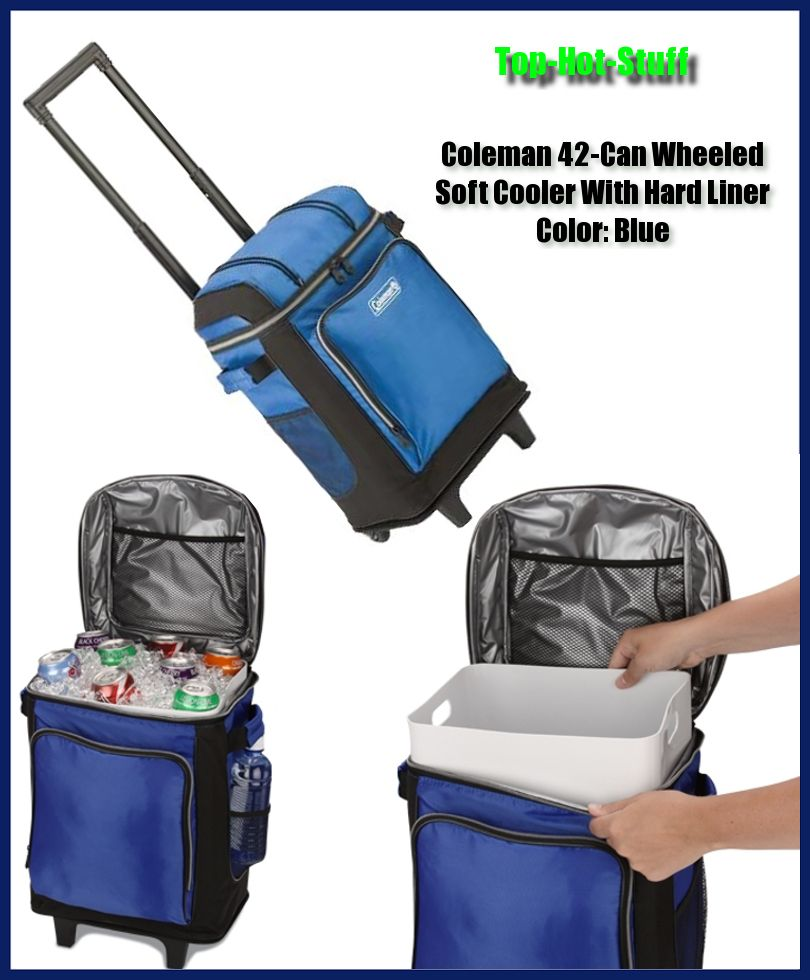 Coleman 42 Can Wheeled Soft Cooler With Hard Liner Holds