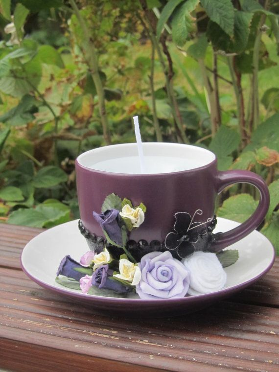 Handmade tea cup candle with flower detail by Craftswithchrissie