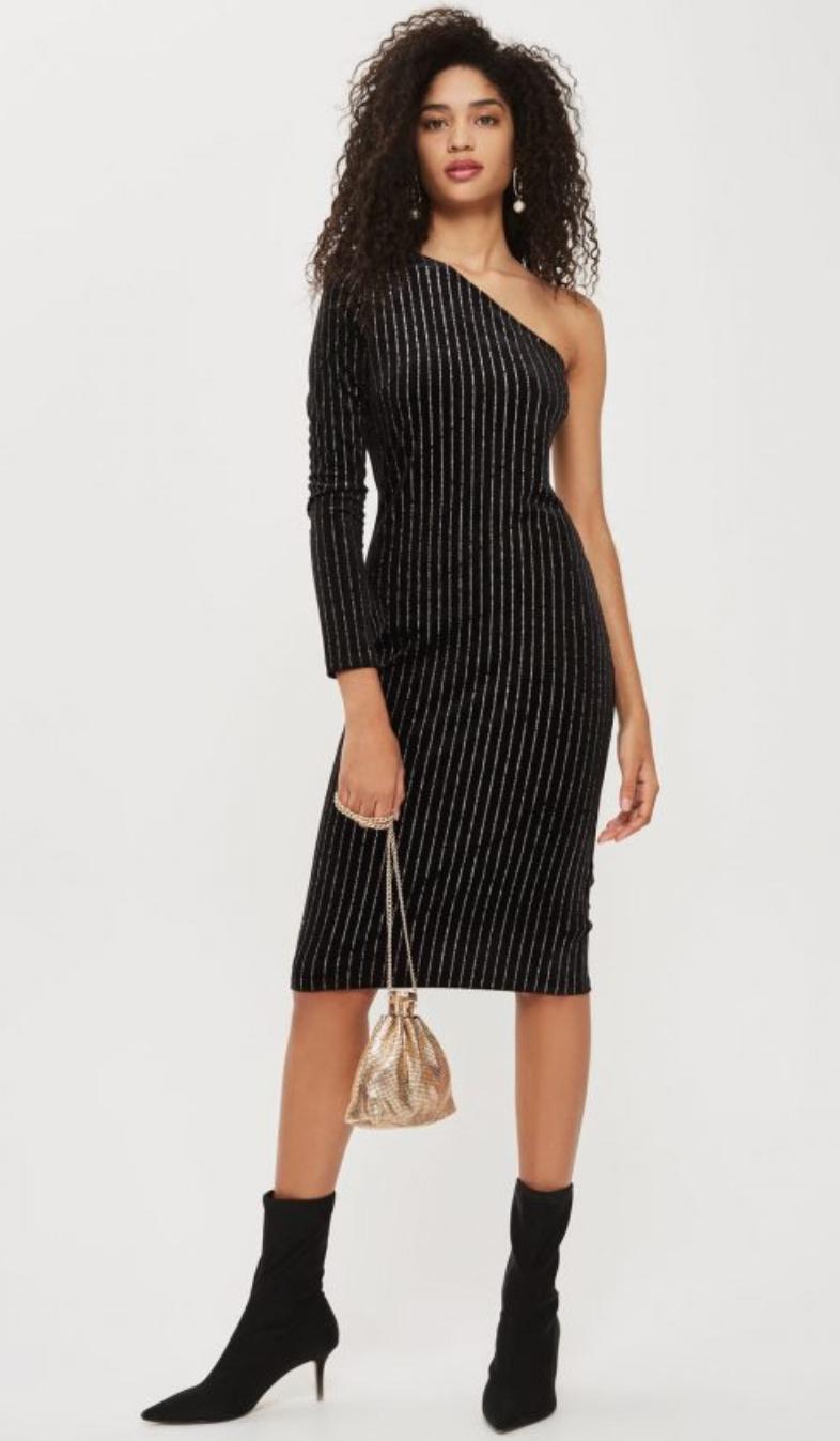 low price best website popular stores 44.00 | TOPSHOP Black Velvet One Shoulder Glitter Midi Dress sz 4 ...