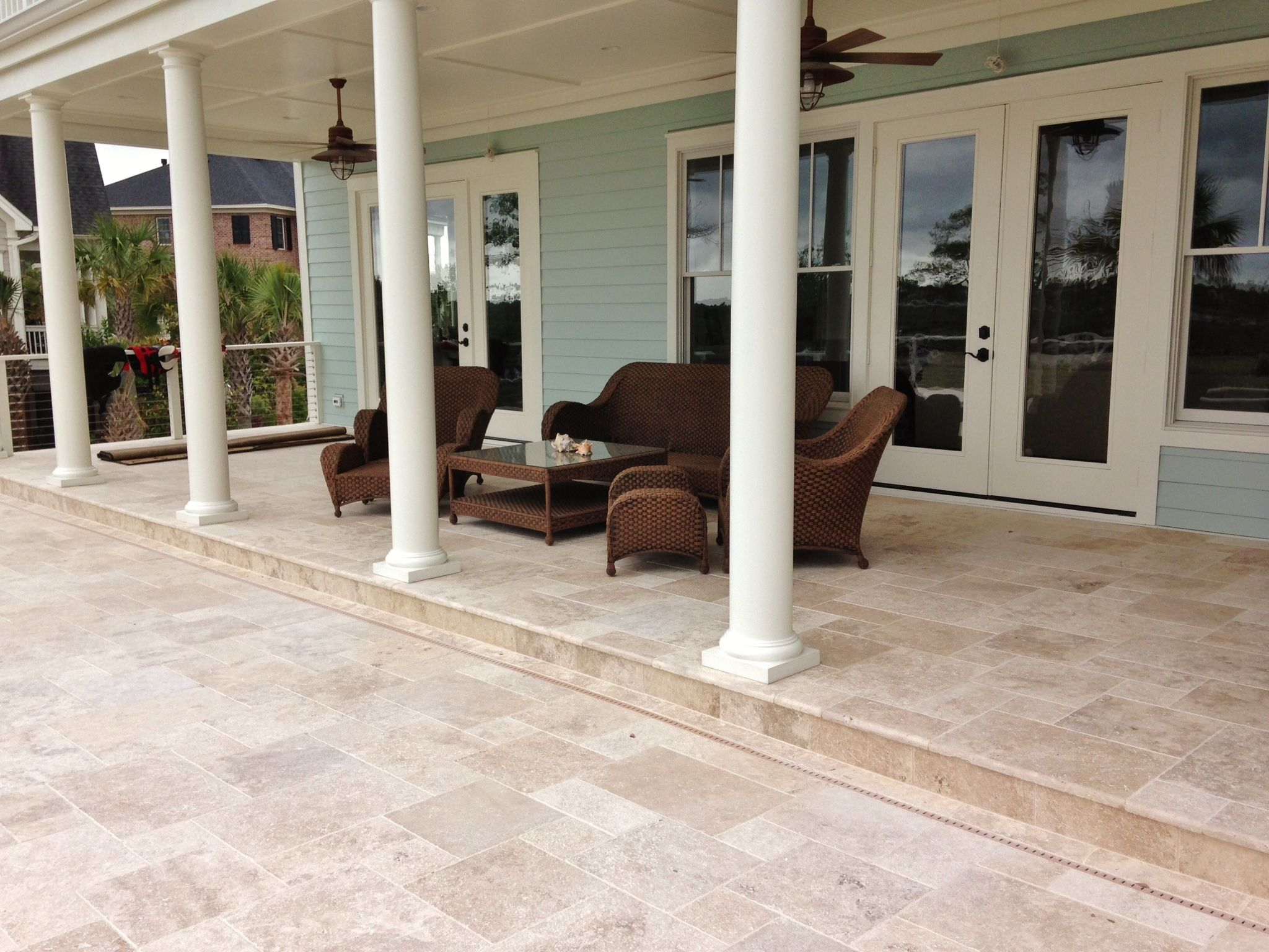 travertine pool deck set in versaille pattern | tile jobs we've