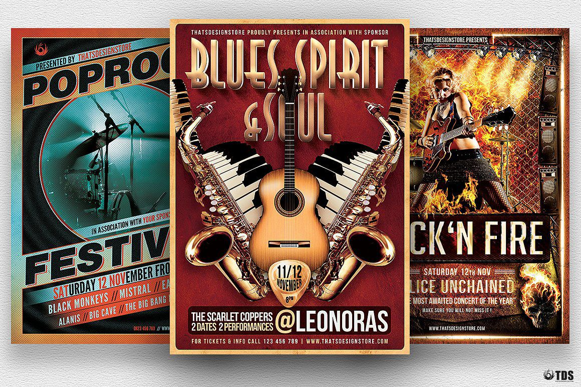 Concert  Live Band Flyer Templates Design Bundle  Flyer Template