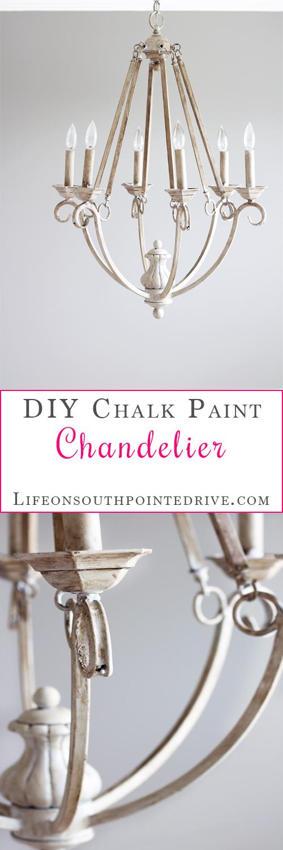 Diy chalk paint chandelier one room challenge week 2 aloadofball Image collections