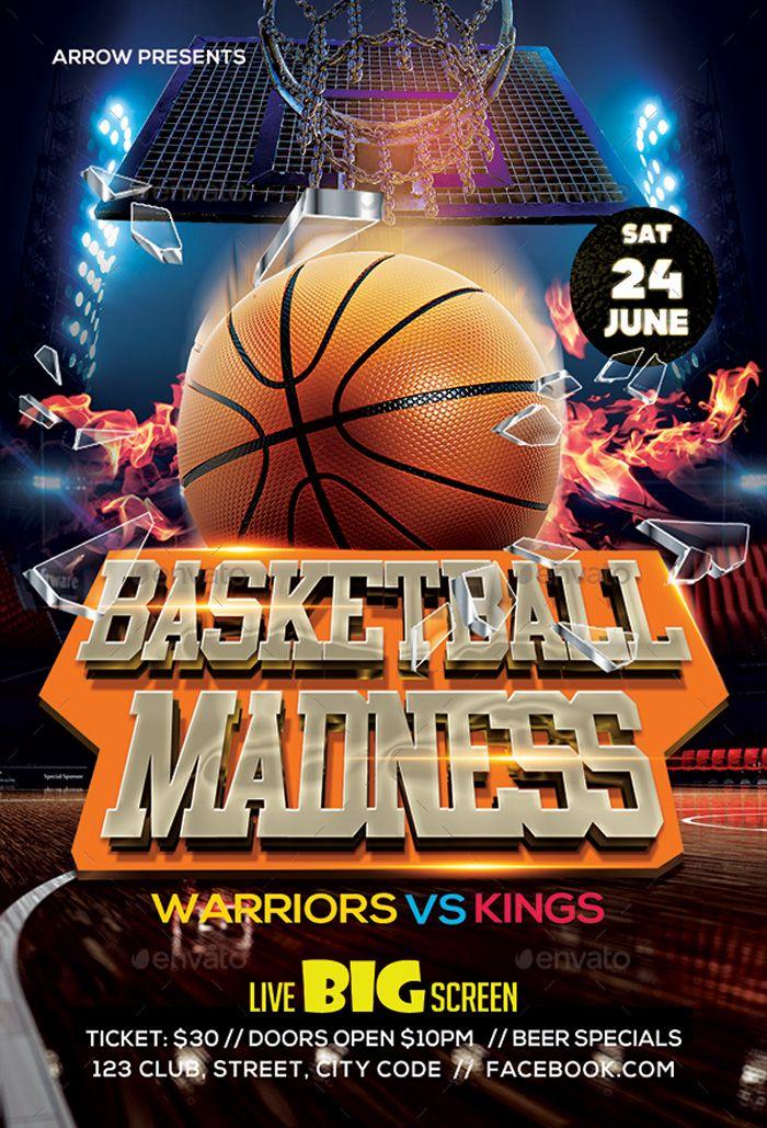 Basketball Madness Flyer Template Design Psd Template Free Flyer