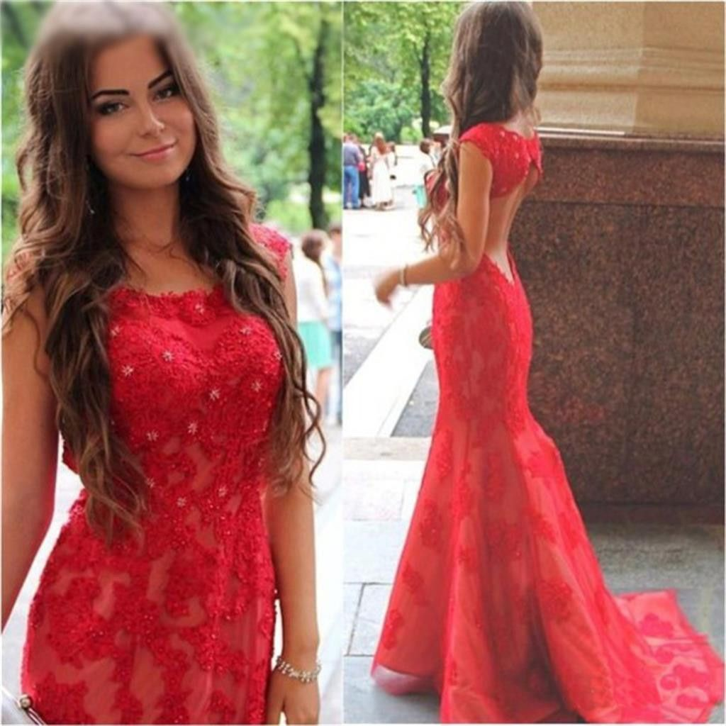 Long red prom dress open back mermaid free custom bridesmaid
