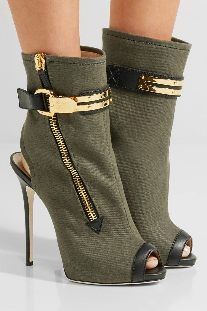 giuseppe zanotti roxie leather trimmed canvas ankle boots shoes rh pinterest com