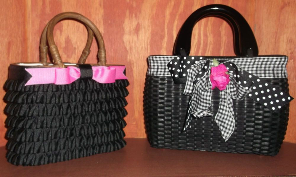 Gretchen Scott And Meghan Dolle Black Wicker Woven Handbags Gretchenscottandmeghandolle Totespers