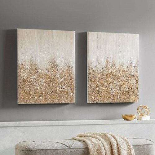 Gold Glitter Textured Canvas Wall Art Set Of 2 Canvas Wall Art Set Wall Art Sets Glitter Wall Art