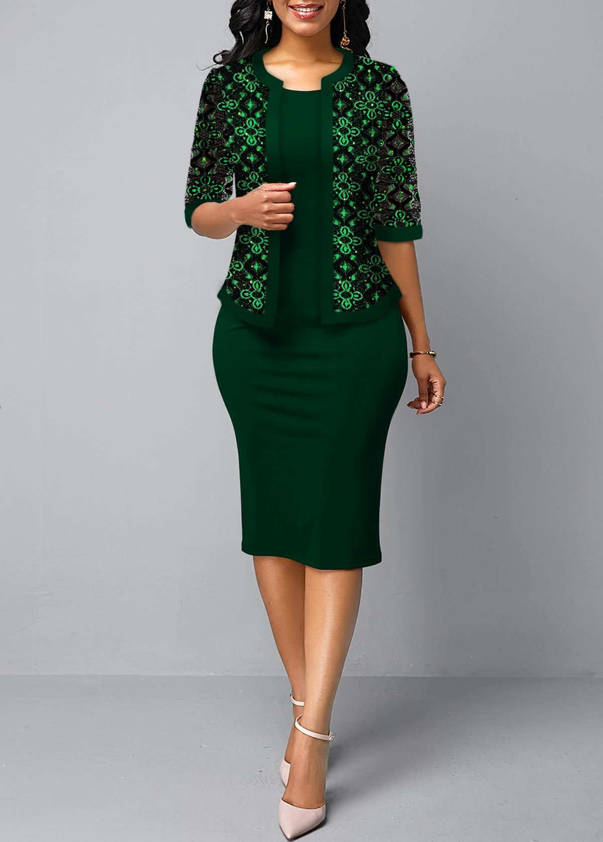 Open Front Lace Cardigan and Dark Green Sheath Dress | Lace
