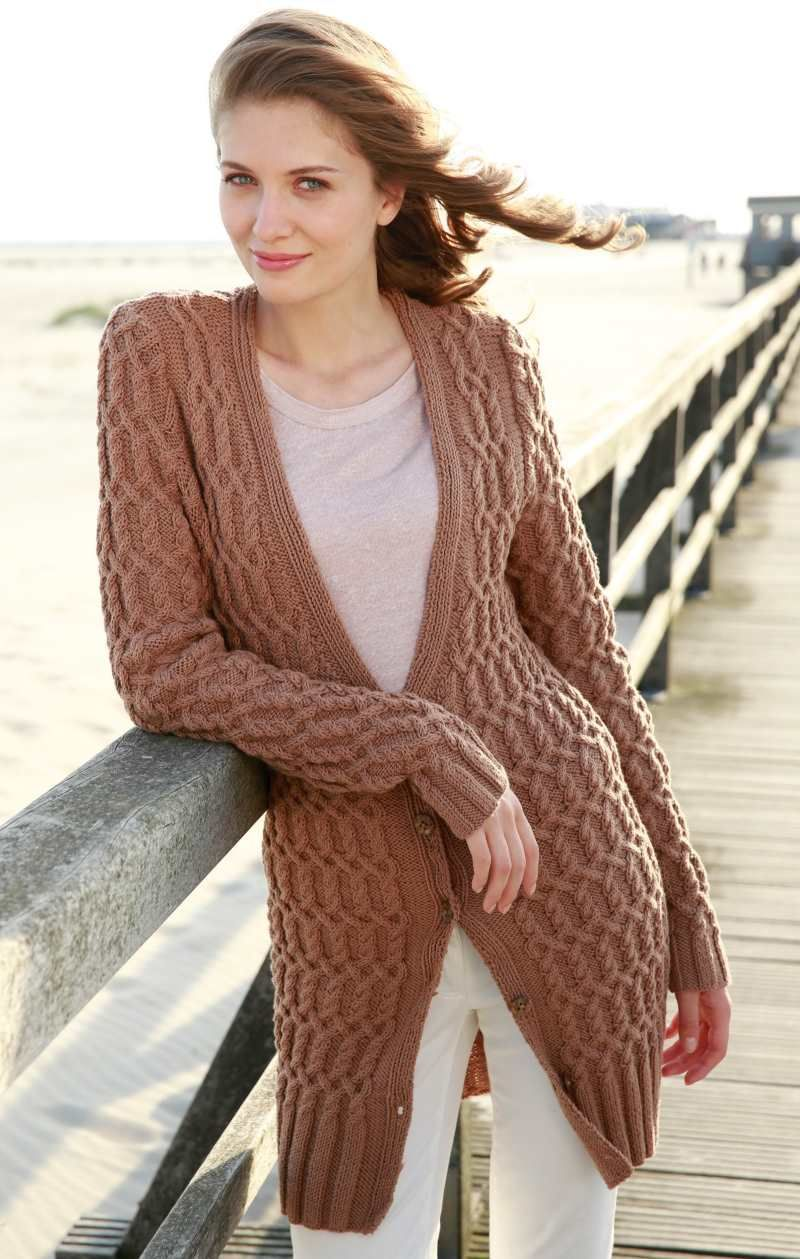 Free Knitting Pattern for a Long All Over Cable Cardigan ...
