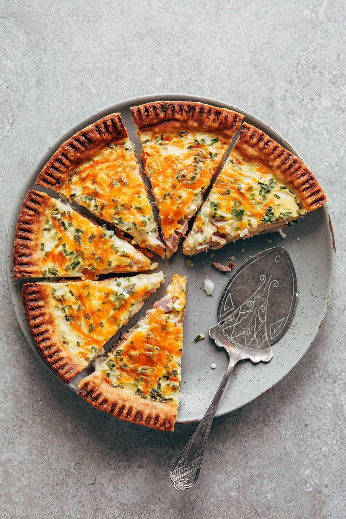 Buttermilk Quiche With Ham Cheddar And Chives Recipe In 2020 Buttermilk Buttermilk Tart Buttermilk Recipes