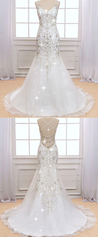 Sparkling Tulle V Neck Neckline Mermaid Wedding Dress With Beaded Embroidery Wedding Dresses Beaded Sparkly Wedding Dress Sparkly Wedding Dress Mermaid [ 1450 x 600 Pixel ]