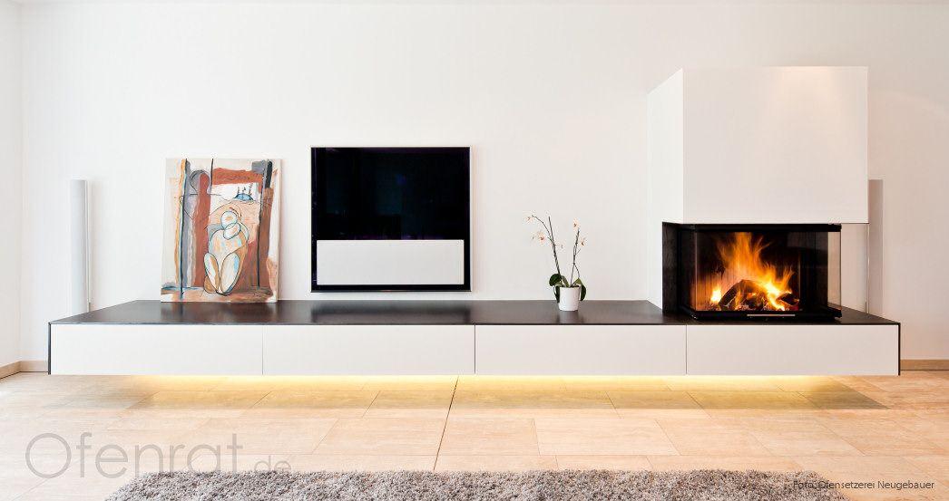 Schwebender Kamin schwebender kamin mit olufsen tv und möbeleinbauten
