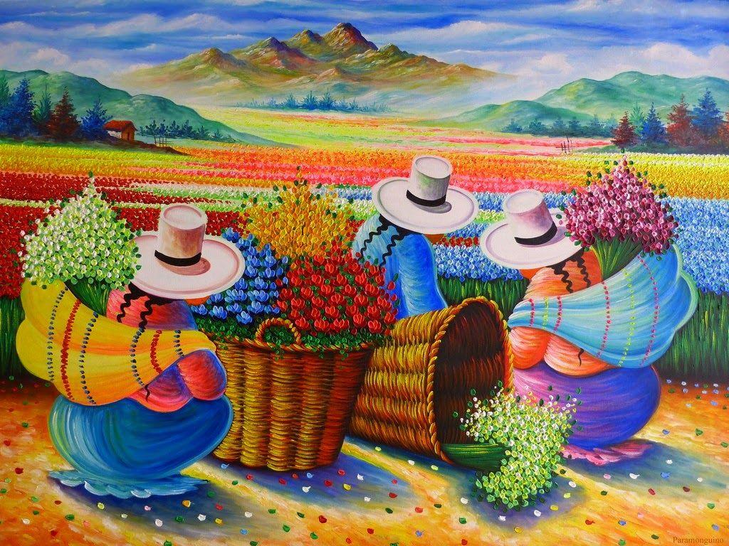 """Pinturas Temáticas : Mujeres Campesinas """"Recolectoras de Flores"""", Pinturas Modernas del Perú"""