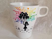 Schöne Tasse - Mädchen mit Luftballon (handbemalt)